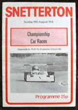 SNETTERTON CHAMPIONSHP CAR RACES PROGRAMME 15 AUG 1976