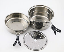 Camping Outdoor Portable Travel Cookware Cooking Cookset Pots Compact Pan kit