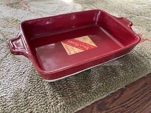 Vtg 2 | Emile Henry Rectangle Square Baker Red, Cream Ceramic Casserole Dish Set