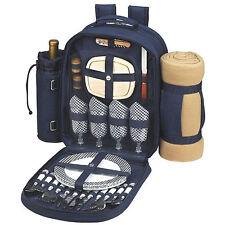 Blue Picnic Backpack Outdoor Eating Day Camping Hiking Basket Storage Blanket US