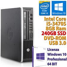 PC MINI COMPUTER DESKTOP RICONDIZIONATO HP CORE i5-3470S RAM 8GB SSD 240GB WIN10