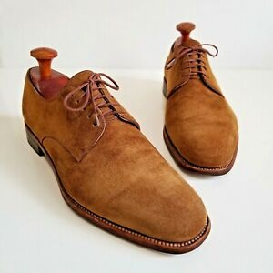 JM WESTON Tan Brown Calf Suede Leather Derby Oxfords Shoes FRANCE Size 8.5 C 9.5