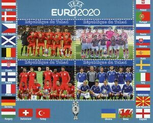 Chad Football Stamps 2021 MNH UEFA Euro 2020 England Soccer Sports 4v M/S