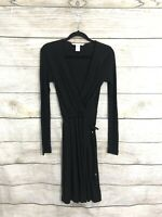 "DIANE von FURSTENBERG ""Deianira"" BLACK LONG SLEEVE FAUX WRAP BELTED DRESS Sz 0"