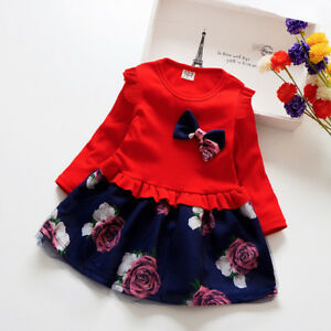 kids girls clothes baby girls long sleeve dress holiday daily party dress flower