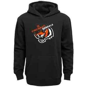 Cincinnati Bengals NFL Boys Black Logo Flux Hoodie, Size XS (4/5) - NWT