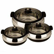 3 PCs Black Casserole Set With Glass Lid, Insulated Serving Bowls For Dinner