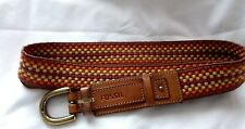 FOSSIL  Southwest fabric color WOVEN BELT  LEATHER TRIM and BRASS BUCKLE  Size L