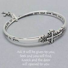Ask Seek Knock Cross Bracelet SILVER Charm Bangle Inspirational Message Jewelry