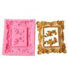 3D Vintage Mirror Picture Frame Mould Fondant Cupcake Baking Silicone Mould 6A