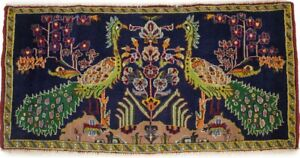 Classic Pictorial Birds Design 2X4 Handmade Oriental Rug Entrance Wool Carpet