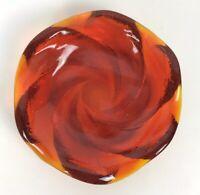 Fenton Art Glass 8 Inch Trinket Candy Dish Orange Amber Swirl Design Vtg