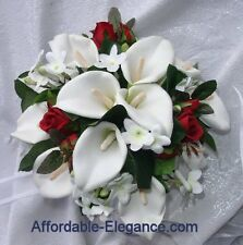 RED & WHITE Round Bridal Bouquet ~ Calla Lilies Stephanotis Silk Wedding Flowers
