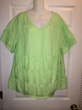 Womens Roamans Green V-Neck Ruffle Shirt Size Large