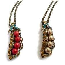 collier PENDENTIF haricot doré bronze pois rouge ou doré strass multicolore