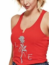 GUESS Tank Women's Bling Graphic Split Neck Racerback Tank Top Cami M Red NWT