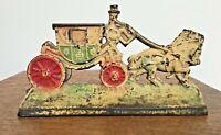 Vintage Cast Iron Stagecoach Horse & Buggy Doorstop
