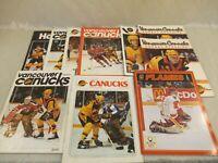 Vancouver Canucks Hockey Magazine 1980s Lot of 10 NHL Programs