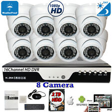 16 Channel Hd Hdmi Dvr 8x Hd 4in1 1080P Home Cctv Security Camera System Set 2Tb