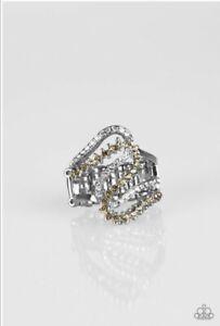 NEW Paparazzi adjustable ring MAKE WAVES topaz/ white rhinestones