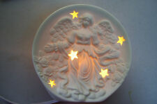 "Guardian Angel Nightlight With Stars Kid's Room Moon Shape 5"" Tall Made In China"
