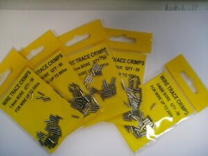 STAINLESS STEEL WIRE TRACE CRIMPS PACK OF 50  -  50/80/100/150/200lb  SEA / PIKE