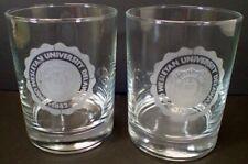 Set (2) Rocks Lo Ball Whiskey Glasses w/ Ohio Wesleyan University Etched Design