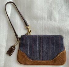 Vintage Coach Wristlet Purse Denim PinStripe Blue Jean Brown Leather Suede Trim