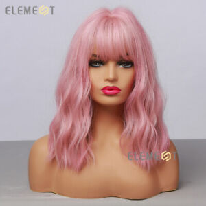 Cute Pink Bob Wavy Curly Hair Wigs for Women Cosplay Party Long Wig with Bangs