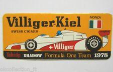 VECCHIO ADESIVO AUTO F1 /Old Sticker VILLIGER TABATIP SHADOW MONZA 1978 (cm16x7)
