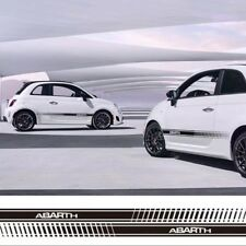 2 Pcs Car Side Skirt Decal Stickers Racing Stripes Graphic For Fiat Abarth 500