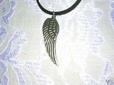 NEW DETAILED FEATHERED CAST PEWTER ANGEL WING PENDANT ADJ NECKLACE