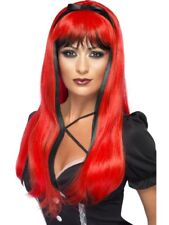 Bewitching Wig Red Black Adult Womens Smiffys Fancy Dress Costume Accessory