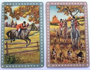 Vintage Swap Playing Cards- HORSES. Off To The Hunt And Over the Fence. Exc.