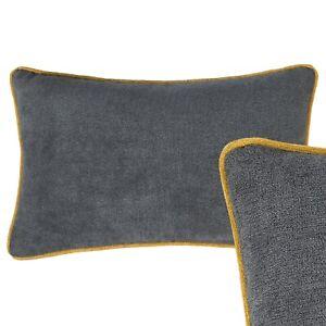 Rectangle Cushion Grey Mustard Yellow Oblong Pillow Case Sofa Cover 30 x 50cm