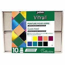 Pebeo Vitrail Verre Peinture Collection Set 10 X 45ml & Accessoires
