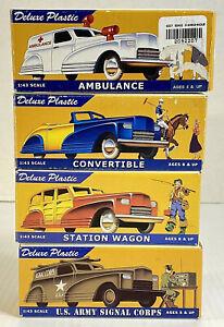 Dimestore Dreams Lot Of 4 Deluxe Plastic Cars 1:43 Scale Original Boxes 40s-50s