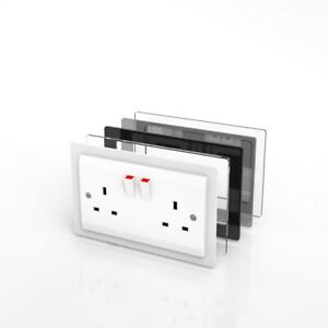Double Single Socket Switch Surround / Acrylic Finger Plate - Minimalist Design