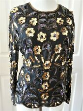 Stenay Lady Silk Beaded Sequin Blouse Black With Multicolor Size M New Vtg