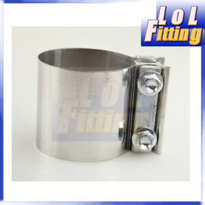 """2.5"""" 2 1/2"""" Inch Stainless Steel Exhaust Muffler Pipe Flat Band Clamp"""