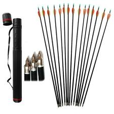 "12pcs Archery 31"" Fiberglass Arrows Hunting With Telescopic Arrow Quiver Black"