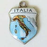 ITALY Vintage Silver Enamel Travel Shield Charm for Bracelet