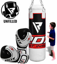 RDX UNFILLED Kids Punching Bag 2FT Junior Boxing Gloves MMA Training Kickboxing