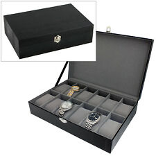 HARVEY MAKIN BLACK LIZARD SKIN PU LEATHER 12 WATCH BOX STORAGE CASE WATCHBOX