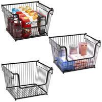 3-Pk Farmhouse Wire Metal Basket Bin - Stackable Storage for Home Kitchen Pantry