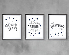 Nursery bedroom prints - set of 3 - Coldplay lyrics quotes - navy and grey decor