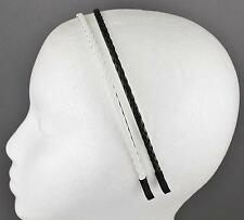 Black White headband set 2 braid faux leather braided hair band skinny narrow