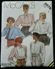 1985 McCalls 2070 Miss size 10 Blouse & Tie Sewing Pattern