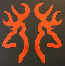 2 ORANGE BROWNING DEER BUCK DOE DECAL STICKER LOGO BADGE EMBLEM HUNTING SHOOTING