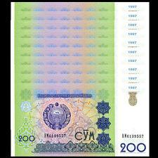 Lot 10 PCS, Uzbekistan 200 Sum Som, 1997, P-80, UNC 1/10 Bundle
